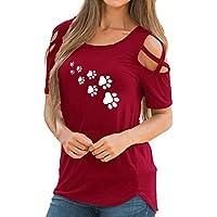 cinnamou Damen Tanktop Frauen Sommer Riemchen Kalte Schulter Hem Paw Print T-Shirt Tops Blusen für Jeans Shorts Oder Jeggings