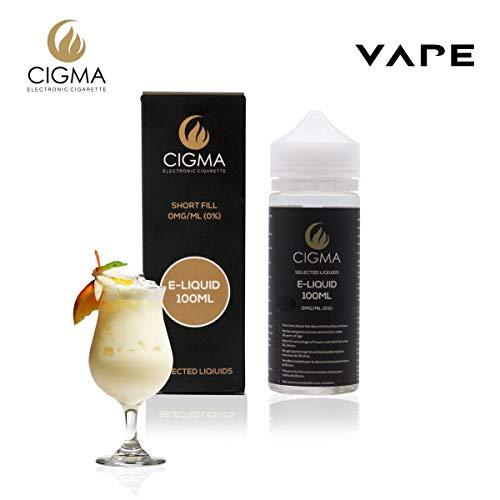 E-zigarette Refill-pack (CIGMA Pinacolada 100ml E Liquid 0mg | Neue Shortfill Flaschen | Premium Qualitätsformel nur mit hochwertigen Zutaten | Hergestellt für elektronische Zigarette und E Shisha | Eliquid)