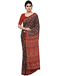 Rajnandini Women's Crepe Silk Printed Saree(JOPLEI1001_Multicolor_Free Size)
