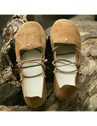 Xue Qiqi Zapatos de la Corte Solo zapatos femeninos de cabeza redonda plana correa sen retro zapatos de mujer,...
