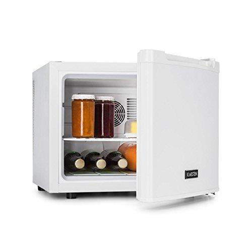Klarstein Manhattan • mini frigo bar • A • 35 L • ca. 45 x 39 x 52,5 cm • silenzioso • 1 ripiano • temperatura regolabile 3 livelli • peso: 11 kg • ferma-porta intercambiabile • bianco