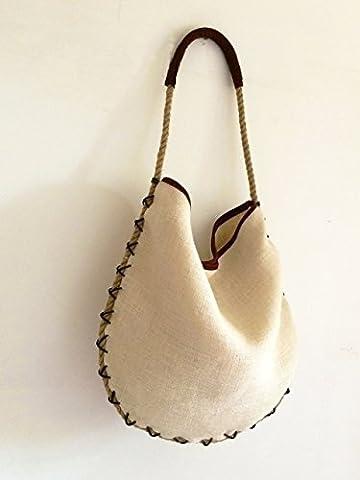 Sac cuir daim et jute avec bandoulière corde de chanvre et fil de cuir, limited edition BBagdesign.