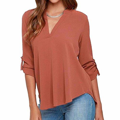 Tops Femmes Sexy V-Cou T-Shirt Ol Blouse-5Xl De Manches Longues Occasionnels Mousseline chemisier Brick Red