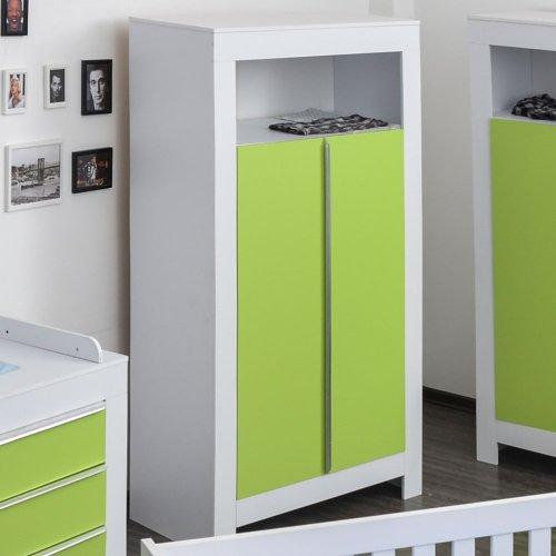 Kleiderschrank 2-türig Felix in weiß mit grünen Schranktürfronten