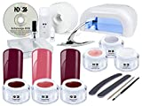 Nagelstudio STARTER SET PREMIUM + SWEET CHERRY RED Collection - 4-Röhren-Lichtgerät UV Lampe weiß + Premium System UV-Gel + Premium 3 x ROT Farb Gele im Set MADE IN GERMANY + Tips + Feilen + Pinsel + Schulungs-DVD + Zubehör - Gel Nägel STARTER SET BESTSEL