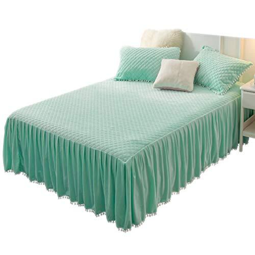 LIFEREVO Luxuriöses Spannbetttuch aus Velourslederimitat, gesteppt, 3 Seiten, 45,7 cm Fallstaub, Rüschen mit Pompons Fransen Twin Aqua - Seite Rüschen