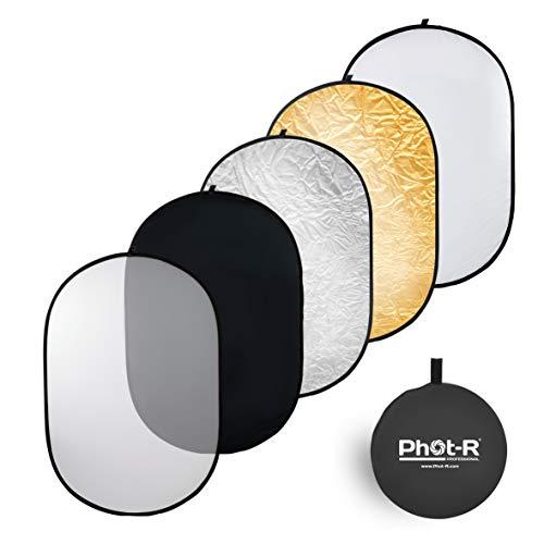 Phot-R P51-100150 100 x 150 cm (40 x 60 Zoll) Pro 5-in-1 Klapp-Professional Photography Mobile Fotostudio Circular Licht-Reflektor Panels Kunststoff mit Tragetasche schwarz