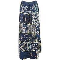 Mogul Interior Women's Long Skirt Blue Patchwork Bohemian Retro Maxi Skirts S/M