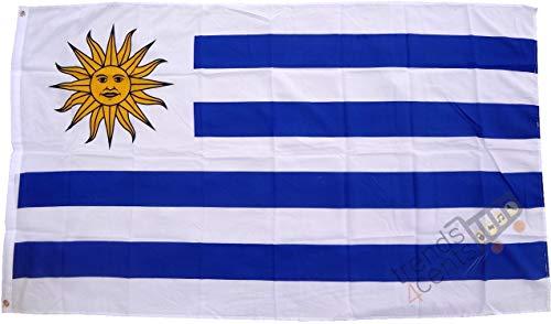 Drapeau de qualité Uruguay de haute qualité - Dimensions : 250 x 150 cm - Extrêmement résistant à la pluie - Ne contient pas de mercure - Poids : env. 100 g/m2, très résistant