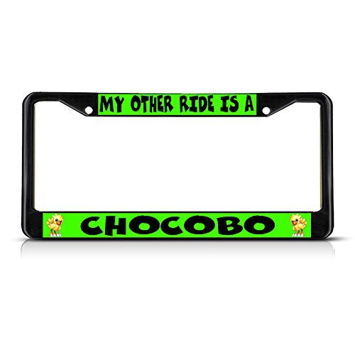 My Other Ride Is A Chocobo Black Metal License Plate Frame Tag Holder by Fastasticdeals
