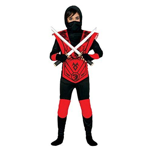 Costume da ninja per bimbi Travestimento da guerriero ninja XS 104/116 cm 3 - 4 anni - Outfit combattente giapponese Vestito di carnevale stile Kung Fu Abito da Samurai festa in maschera Festeggiamento a tema Asia fanciulli