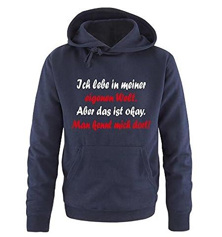 Comedy Shirts - Ich lebe in meiner eigenen Welt - Herren Hoodie in Navy / Weiss-Rot Gr. XXL