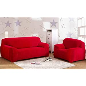 Dicke Sofaüberzüge, 1/2/3/4-Sitz-Überwurf, Sofa Schutzüberzug aus Samt. einfache Passform, Stretch-Material, Couch-/Bettüberwurf, rot, 4 Seater:235-300cm