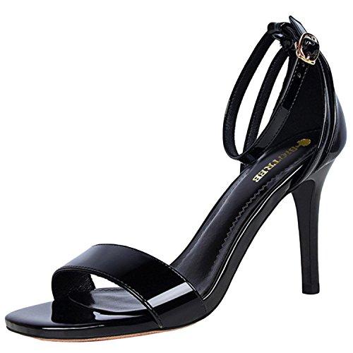 Oasap Women's Peep Toe Ankle Strap High Heels Office Sandals Black