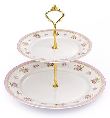 2étages en porcelaine anglaise Rose Vintage Support à gâteau avec pied chromé