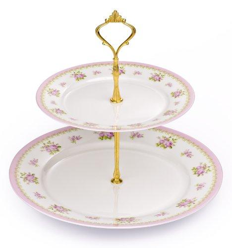 2Tier Vintage Rose de porcelana fina soporte para tartas con base cromada