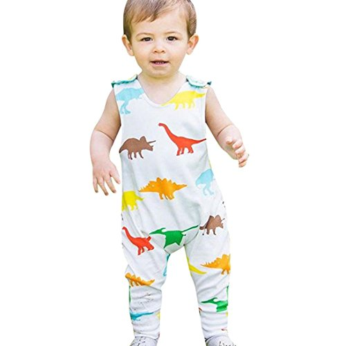 Coupon Matrix - WYXlink Boys Romper, Clearance Sale Newborn Baby Sleeveless Romper Jumpsuit With Dinosaur Print All Season (6-24M,White ) (80)