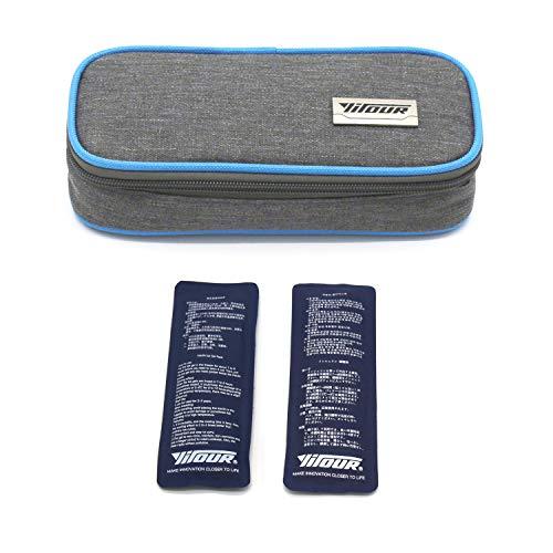 Insulin-Reisetasche, Insulin-Kühltasche Schutzhülle für die medizinische Versorgung Diabetiker Veranstalter Tragbarer Reisekühler + 2 Eisbeutel (Blau)