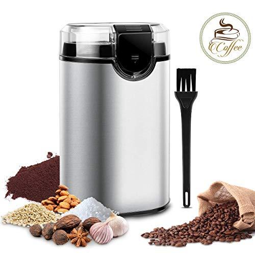 Elektrische Kaffeemühle, morpilot Edelstahl Coffee Grinder, Mühle für Kaffeebohnen Gewürz Getreide Nüsse, mit Reinigungsbürste, Edelstahlmesser(150W, 70g Fassungsvermögen)
