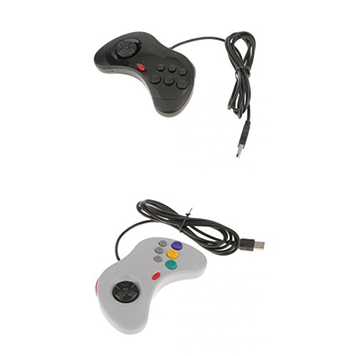 Segolike 2Pieces Wired USB Gamepad Game Controller Joypad Joystick for SEGA Genesis MD2 SR