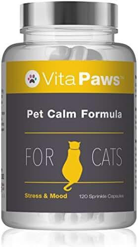 VitaPawsTM Fórmula calmante para gatos | 120 Cápsulas para espolvorear | Indicado para gatos que sufren de estrés o ansiedad: Amazon.es: Salud y cuidado ...
