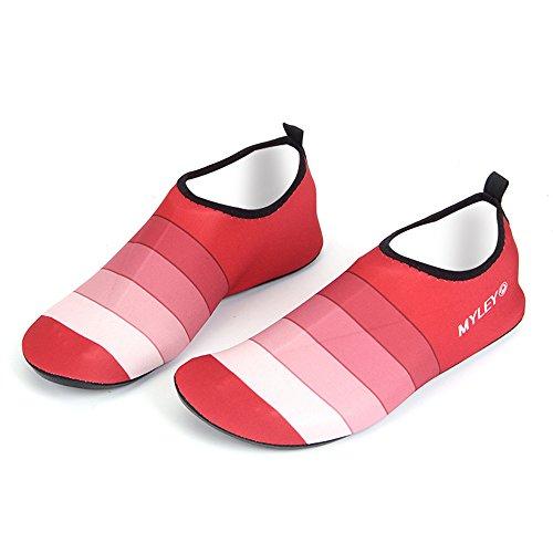HYSENM Scarpa acquatico 360° Flessibile Elastico asciugatura rapida suola antiscivolo per sport spiaggia piscina Surf condotta Yoga Rosso
