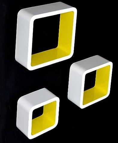 Lot de 3 étagères Lounge Cube style années 1970 (Blanc/jaune)