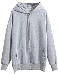 MYSHOW Damen Basic Kängurutasche Pullover Kapuze Tunnelzug Baumwolle Hoodie 1dde22205d