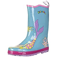 Kidorable Blue Mermaid Natural Rubber Rain Boots w/Fun Fish Tail Pull On Heel Tab