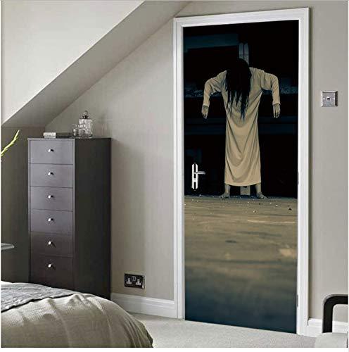 luludsoo Scary Japanische Frau Geist Halloween Dekoration 3D Ansicht Wand Tür Aufkleber Home Decor Wandbild Teil Faktor 95X215Cm