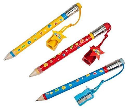 220022 3x Jumbo Bleistift Cool School mit Radierer und Anspitzer in 3 Farben zum Schulanfang, 3...