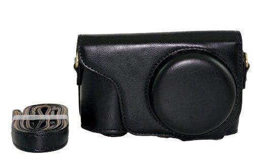 Galaxy Camera Case (Schutz-PU-Leder Kamera Tasche für Samsung Galaxy Camera 2 EK-GC200 GC200 mit Gurt und Screen Protector - Schwarz)