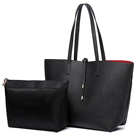 Miss Lulu Women Reversible Tote Bag Faux Leather Shoulder Handbag Large Shopper Set (Black)
