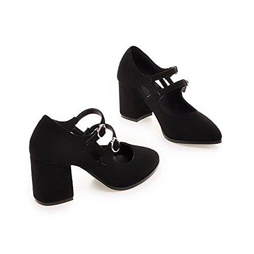 Femme Noir à Suédé Couleur Pointu Haut Légeres Odomolor Talon Fermeture DOrteil Chaussures Unie Boucle 4wZxqOdBO