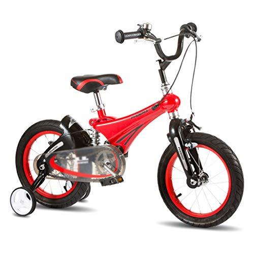 Kinderfahrräder Kinder Fahrrad im Freien Fahrrad Student Fahrrad Junge Mädchen Fahrrad im Freien Auto Kind Lernen Auto, Magnesium-Legierung Rahmen (Color : Red, Size : 14inches)