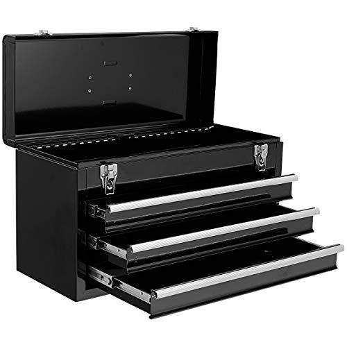 COSTWAY Werkzeugaufbewahrung Werkzeugkiste Werkzeugkasten Werkzeugbox, Schubladenschrank 3 Schubladen + Fach, Werkzeugkoffer 52x21,5x30cm (Schwarz)