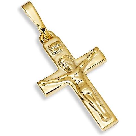 (p2635036) vero ciondolo in argento 925placcato oro pendente croce Gesù ciondolo a forma di croce