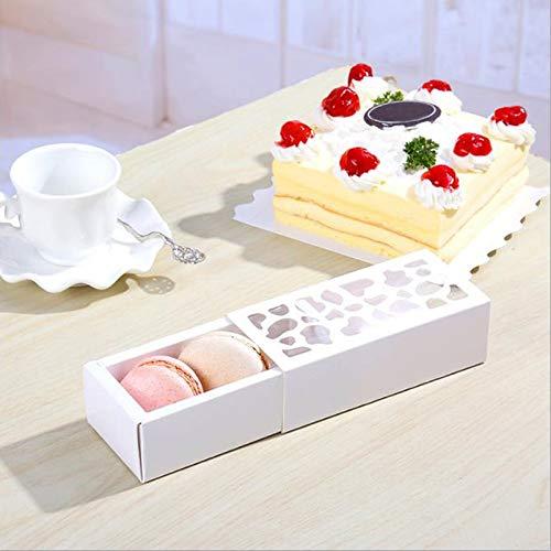 10 x weiße Hohl-Macaron-Box für Kekse und Kuchen für Schokolade, Muffins, Kekse, Luxus-Dekoration (Box Aus Weißer Schokolade)