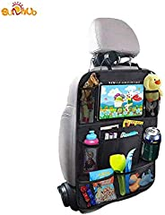 Car Backseat Organizer with Tablet Holder, 8 Storage Pockets Seat Back Protectors Kick Mats for Kids Toddlers, Travel Access