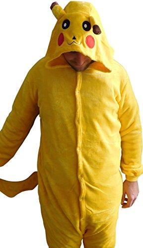 Kostüm Pikachu Tragen - Ganzkörperkostüm Kostüm Fasching aus Fleece mit Kapuze in gelb für Erwachsene Größe XL