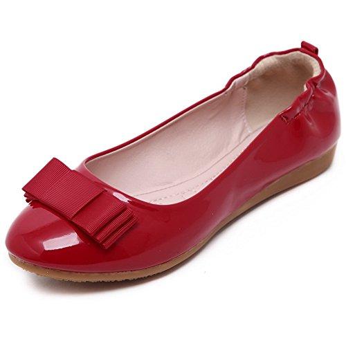 AgooLar Damen Schließen Zehe Ziehen Auf kunstleder Flache Schuhe Rot+Pu