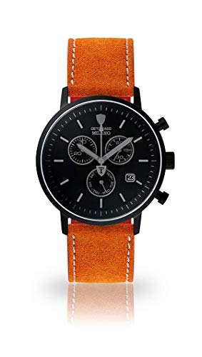 DETOMASO Milano Mens Chronograph Analog Quartz Orange Leather Strap Black dial DT1052-P-806