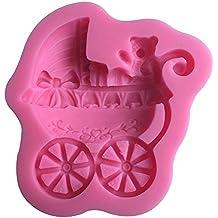Karen Baking Forma del oso del bebé del coche del silicón 3D molde de pastel para la torta pasta de azúcar que adorna