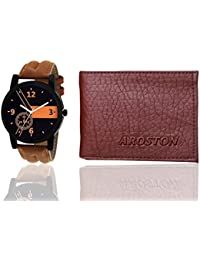 Shocknshop Analogue Watch & Wallet Combo For Men/Boys (Black & Brown)
