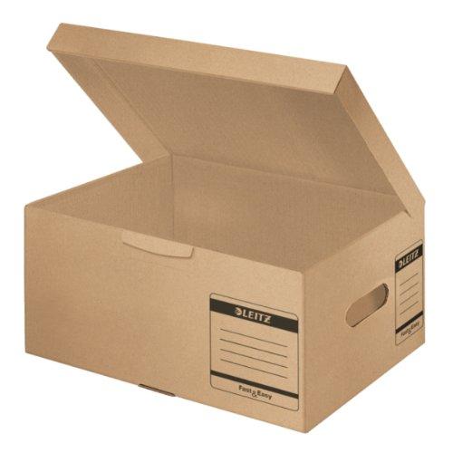 Leitz Archivbox Fast & Easy, A4 Plus, mit Klappdeckel, naturbraun (Karton-recycling-container)