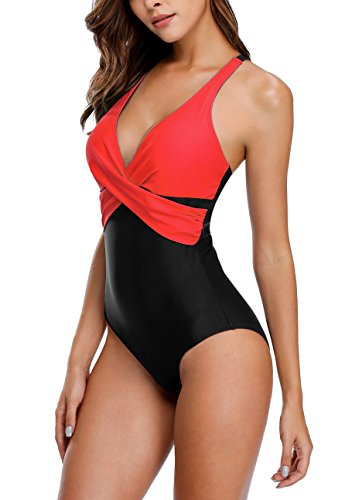 Charmo Damen Vintage One Piece Schwimmenanzug Einteiler Badeanzug Elegant Figurformend Swimsuit Rot