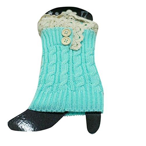 Amlaiworld Chaussettes Tricot Crochet Boots Cover Femme, de Botte Extensible Dentelle Boot Socks Boot Cuff (22/8,7, Bleu)