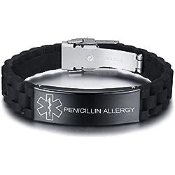 Vnox Personalizado Personalizado Alerta Médica de Acero Inoxidable Etiqueta de ID Negro de Silicona Pulsera Ajustable para Los Hombres,Penicillin Allergy