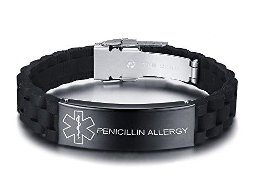 Vnox Personalisierte Benutzerdefinierte Medical Alert Edelstahl ID Tag Schwarz Silikonkautschuk Einstellbar Armband Für Männer,PENICILLIN Allergy