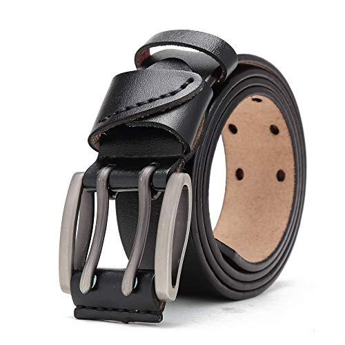 aoliaoyudonggha New Men Belt Genuine Leather Male Belts Vintage Buckle Leather Belt Waistband Double Stud Belt
